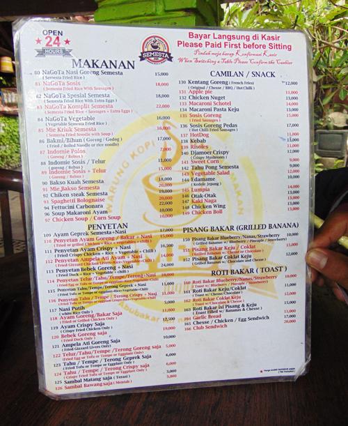 Harga Menu Makanan Minuman Di Warkop Semesta Retnamudiasih