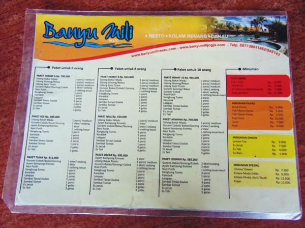 Daftar Harga Menu Di Banyumili Resto