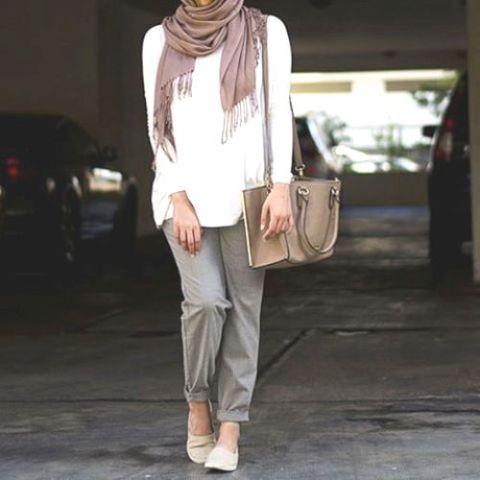 classic casual hijab outfit, Hijab spring street fashion